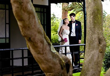 wedding day portrait of married couple outdoors