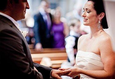 Exchanging rings between bride and groom