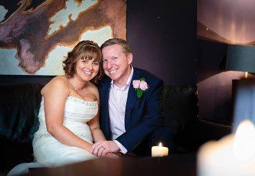bride and groom portraits indoors